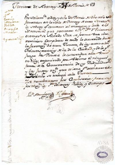 Borrador de la Junta de abastos celebrada el 21 de junio de 1782