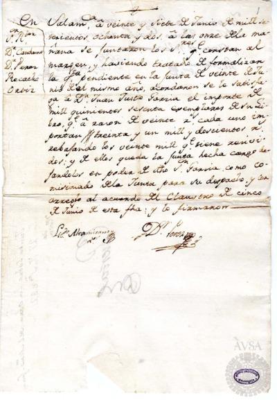 Borrador de la Junta sobre la obra del maestro Juan Justo García, celebrada el 27 de junio de 1782