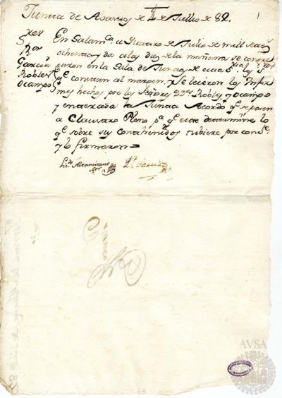 Borrador de la Junta de abastos celebrada el 4 de julio de 1782