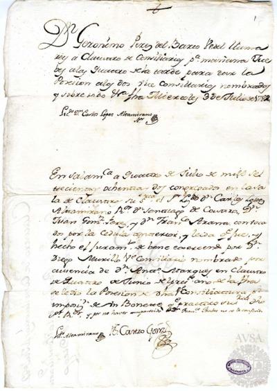 Borrador del Claustro de rector y consiliarios celebrado el 4 de julio de 1782