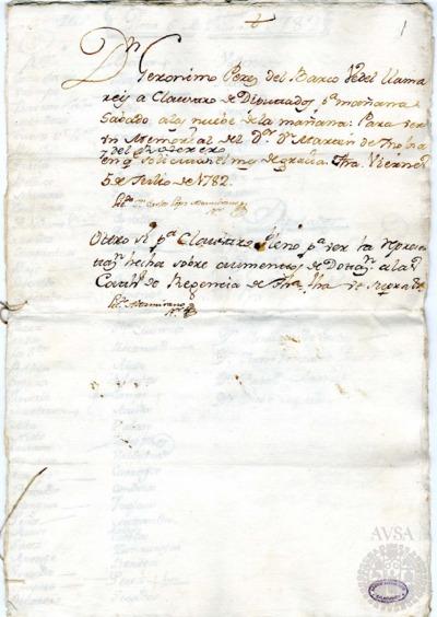 Borrador del Claustro pleno y Claustro de diputados celebrados el 6 de julio de 1782