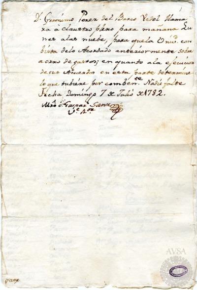 Borrador del Claustro pleno celebrado el 8 de julio de 1782