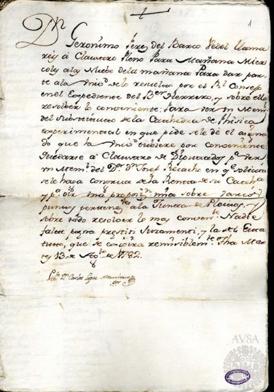 Borrador del Claustro pleno y Claustro de diputados celebrados el 14 de agosto de 1782