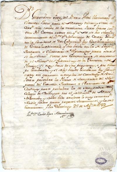 Borrador del Claustro pleno, Claustro de diputados y Claustro de cabezas y catedráticos de propiedad celebrados el 27 de agosto de 1782