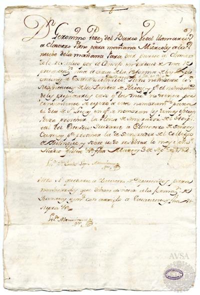 Borrador del Claustro pleno, Claustro de diputados y Claustro de cabezas y elltedrétíeoi de propiedad celebrados el 4 de septiembre de 1782