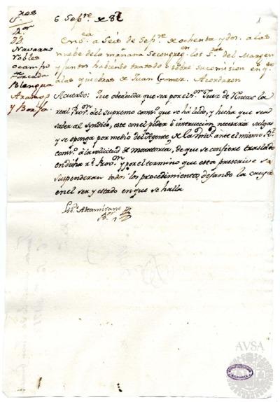 Borrador de la Junta sobre la quiebra de Juan G6mez, celebrada el 6 de septiembre de 1782