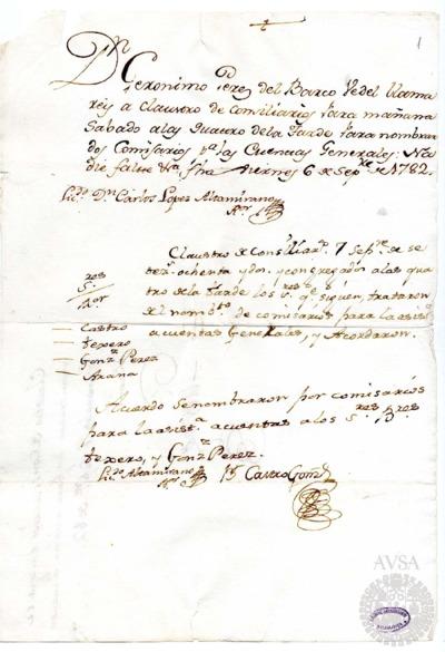 Borrador del Claustro de rector y consiliarios celebrado el 7 de septiembre de 1782