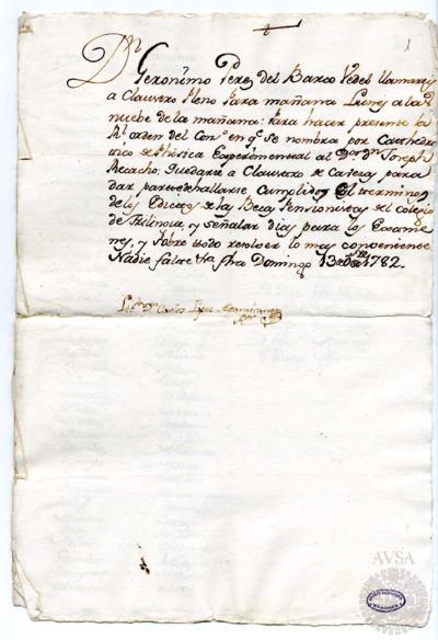 Borrador del Claustro pleno y Claustro de cabezas y catedráticos de propiedad celebrados el 14 de octubre de 1782