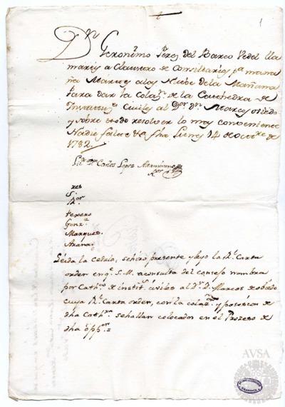 Borrador del Claustro de rector y consiliarios celebrado el 15 de octubre de 1782