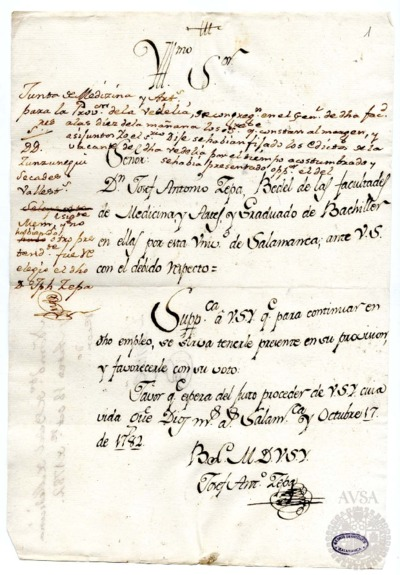 Borrador de la Junta de las Facultades de Medicina y Artes celebrada el 18 de octubre de 1782
