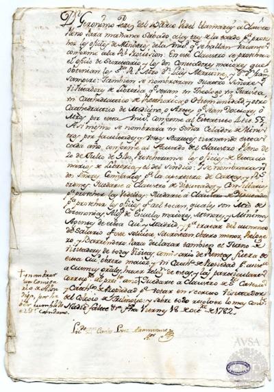 Borrador del Claustro pleno, Claustro de diputados y consiliarios, Claustro de diputados y Claustro de cabezas y catedráticos de propiedad celebrados el 19 de octubre de 1782