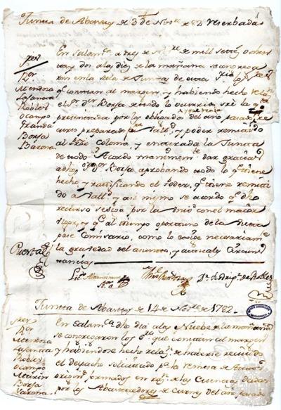 Borrador de las Juntas de abastos celebradas los días 3, 14 y 16 de noviembre de 1782