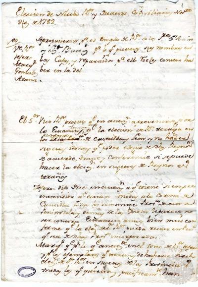 Borrador del Claustro de rector y consiliarios celebrado el 10 de noviembre de 1782