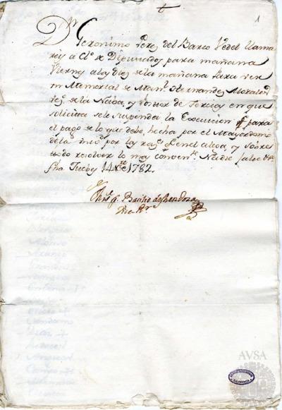 Borrador del Claustro de diputados celebrado el 15 de noviembre de 1782. Incluye el borrador de la Junta de tercias celebrada el 14 de noviembre de 1782