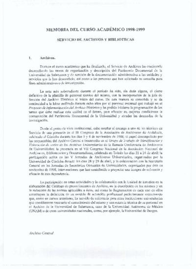 Memoria de las bibliotecas de la USAL, 1998-1999