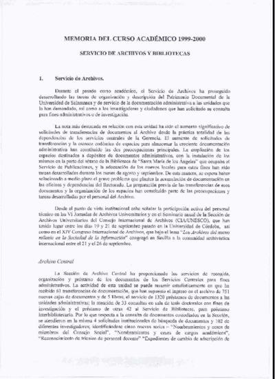 Memoria de las bibliotecas de la USAL, 1999-2000