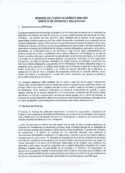 Memoria de las bibliotecas de la USAL, 2000-2001