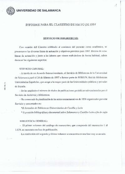 Informe para el claustro del Servicio de Bibliotecas, mayo de 1997