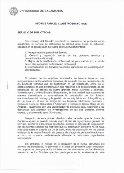 Informe para el claustro del Servicio de Bibliotecas, mayo de 1998