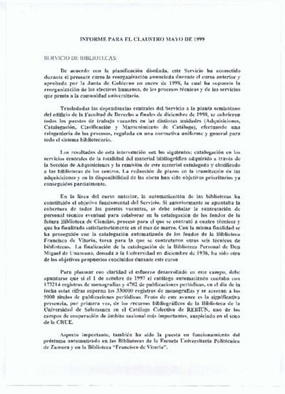 Informe para el claustro del Servicio de Archivos y Bibliotecas, mayo de 1999