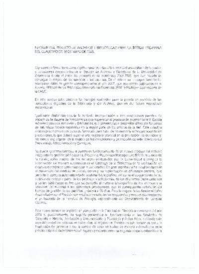 Informe para el claustro del Servicio de Archivos y Bibliotecas, mayo de 2008