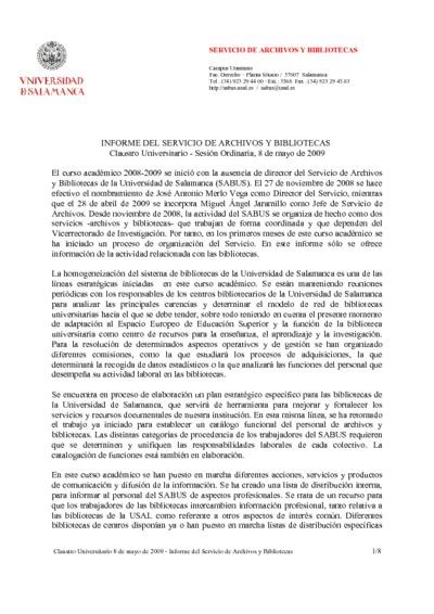 Informe para el claustro del Servicio de Archivos y Bibliotecas, mayo de 2009