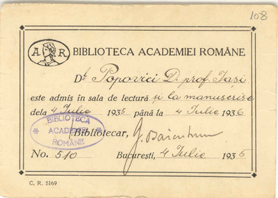 [Permis de intrare la] Biblioteca Academiei Române