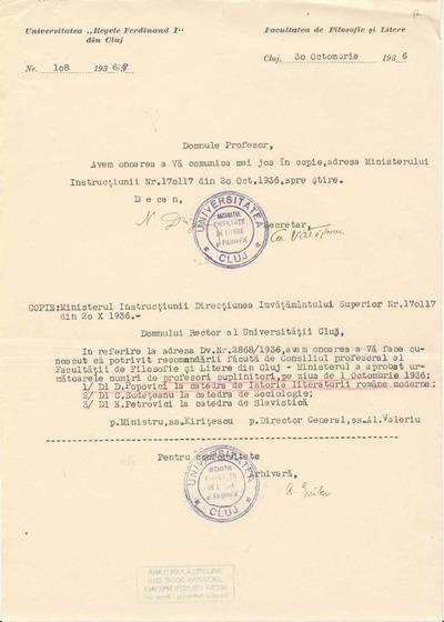 [Comunicare a Facultăţii de Filosofie şi Litere de la Universitatea Regele Ferdinand I din Cluj către Dimitrie Popovici]