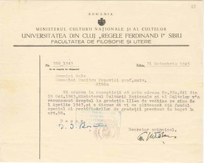 [Comunicare a Facultăţii de Filosofie şi Litere de la Universitatea Regele Ferdinand I din Cluj-Sibiu către Dimitrie Popovici]