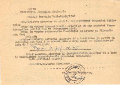 [Decizie a Ministerului Educaţiei Naţionale privind salarizarea profesorului Dimitrie Popovici]