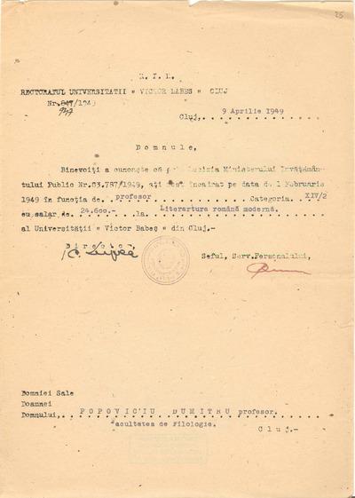 [Comunicare a Rectoratului Universităţii Victor Babeş Cluj adresată profesorului Dumitru Popovici]