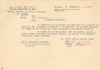 [Solicitare a Editurii de Stat pentru Literatură şi Artă adresată Prof. Dumitru Popovici]