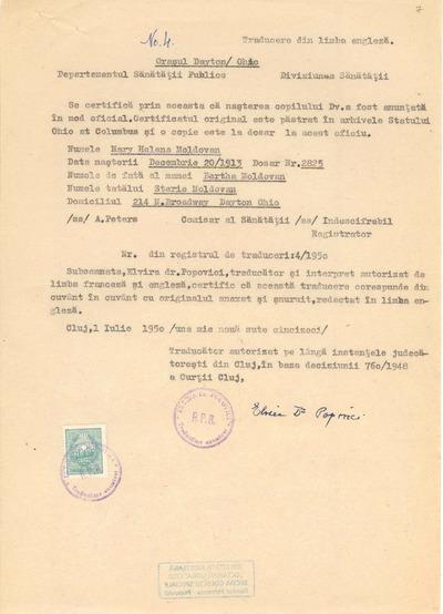 [Certificat privind date personale de naştere eliberat pe numele Mary Helena Moldovan]