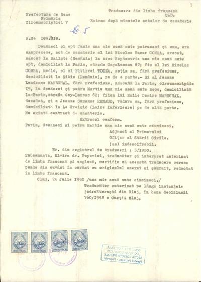 [Extras după minutele actelor de căsătorie între Nicolae Bucur Comşa şi Jeanne Lucienne Marechal]