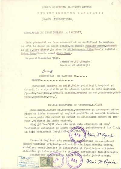 Certificat de înregistrare a naşterii [Paulinei Russu]