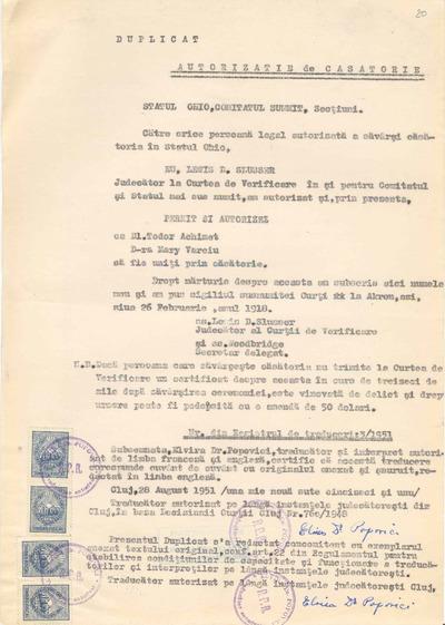 Autorizaţie de căsătorie [între Tudor Achimet şi Mary Varciu]