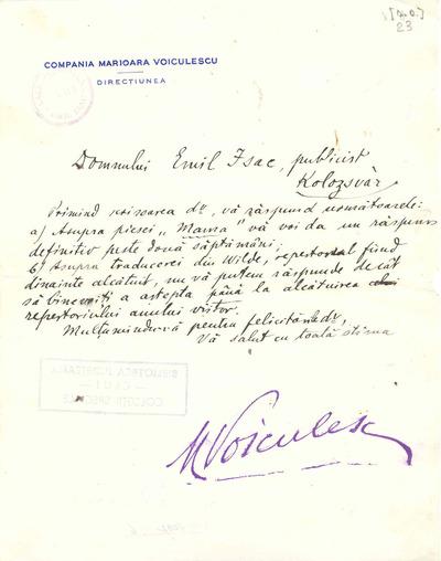 Corespondenţă Marioara Voiculescu - Emil Isac