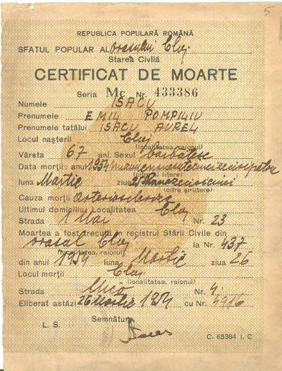 Certificat de moarte [Emil Isac]
