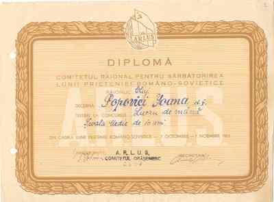Diplomă [conferită Ioanei Popovici]
