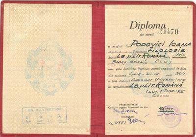 Diplomă de Merit [acordată Ioanei Popovici]