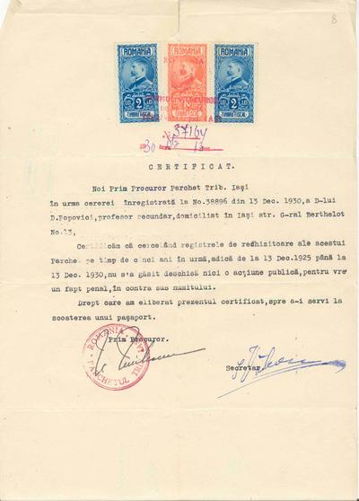 Certificat [eliberat pe numele lui D. Popovici]