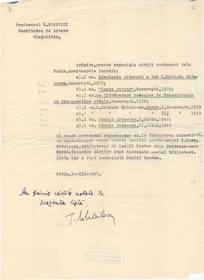 [Listă de cărţi trimise de Dumitru Popovici pentru Expoziţia cărţii româneşti de la Paris]