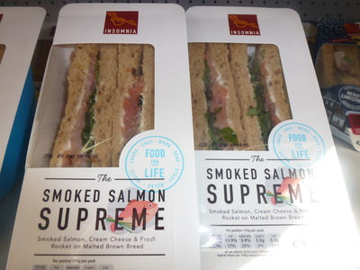 takeaway selection of sandwich with smoked salmon