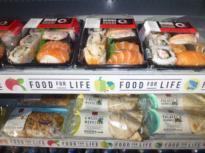 takeaway selection of sushi and sandwiches
