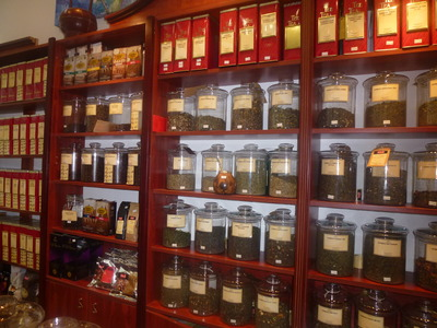 tea blends and coffee beans display