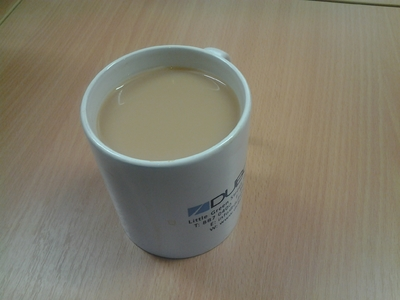 tea with milk in mug