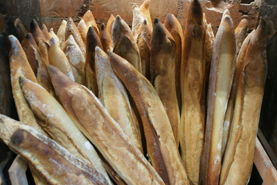 tray of baguettes