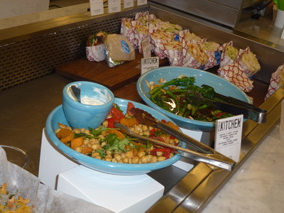vegetable salads display with wraps