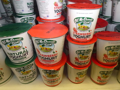 yoghurts in natural and strawberry flavours