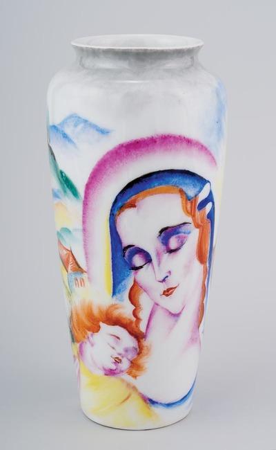 Váza - A Szent Család ábrázolásával